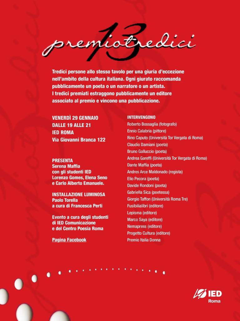 manifesto premio tredici 2016 ied centro poesia roma
